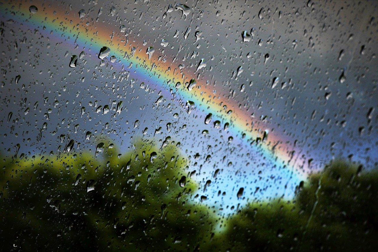 Rain with rainbow